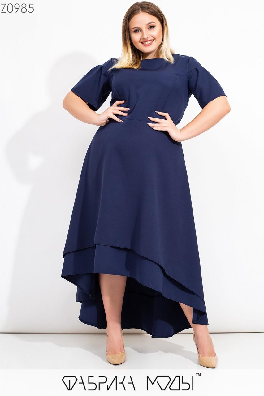 Длинное асимметричное платье в больших размерах с коротким рукавом и расклешенной юбкой vN7100