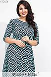 Платье миди в больших размерах в геометрический принт с расклешенной юбкой vN7111, фото 2