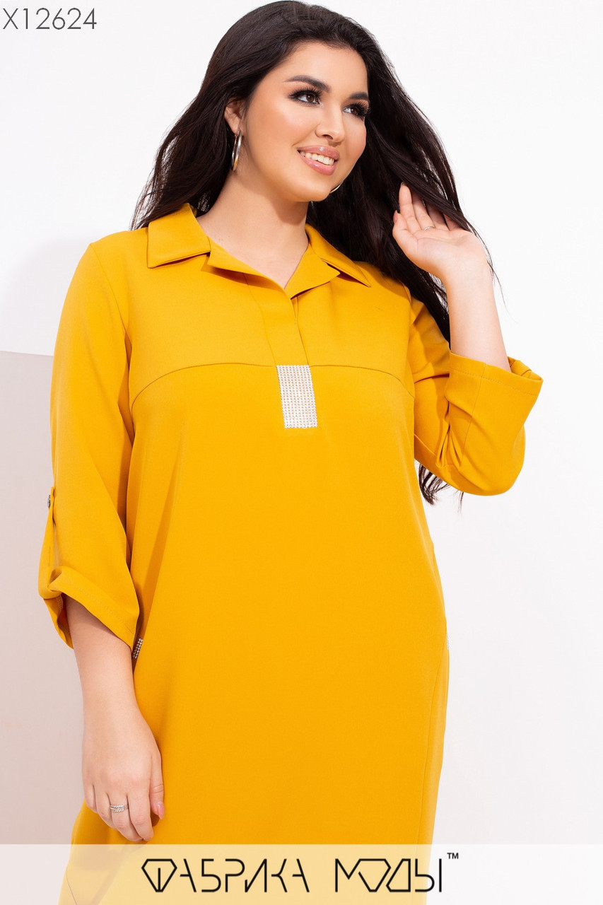 Прямое свободное платье миди в больших размерах с рубашечным верхом vN7112