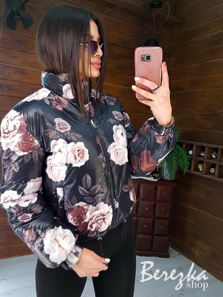 Двухсторонняя женская дутая куртка в цветочный принт с воротником стойкой vN7138