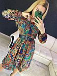 Принтованное платье с расклешенной юбкой и оборкой vN7144, фото 2