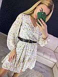 Принтованное платье с расклешенной юбкой и оборкой vN7144, фото 3