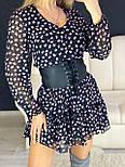 Принтованное платье с расклешенной юбкой и оборкой vN7144, фото 4