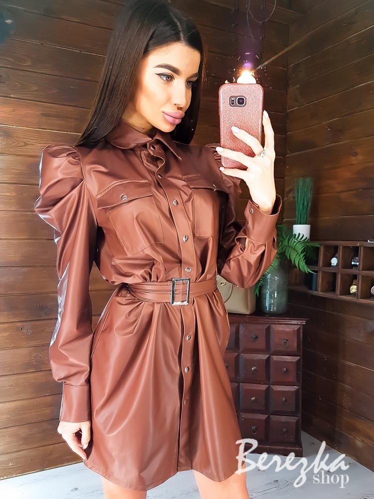 Кожаное платье рубашка на кнопках с длинными рукавами фонариками vN7148