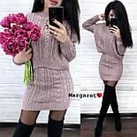 (р.42-44) Женский вязаный костюм кофтой и короткой юбкой vN7157, фото 2