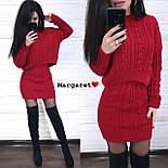 (р.42-44) Женский вязаный костюм кофтой и короткой юбкой vN7157, фото 4