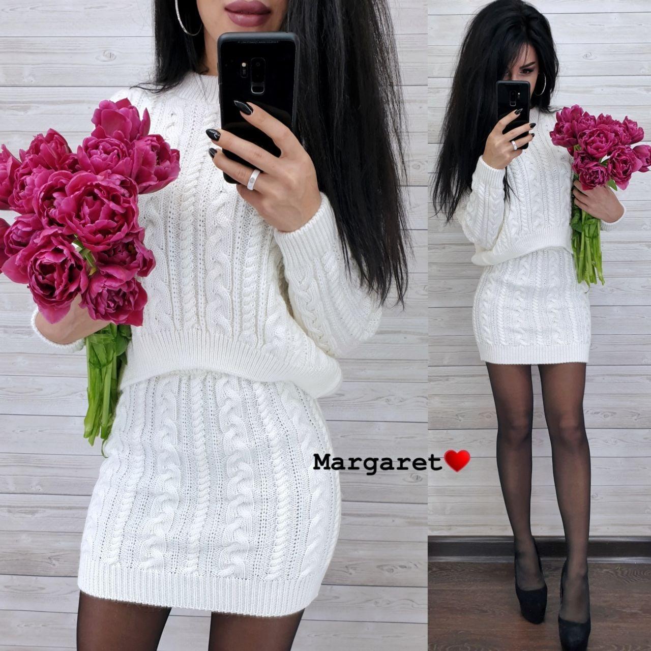 (р.42-44) Женский вязаный костюм кофтой и короткой юбкой vN7157