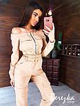 Женский брючный костюм с джоггерами и топом с открытыми плечами vN7164, фото 5