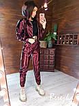 Перламутровый кожаный брючный костюм с укороченным бомбером на молнии vN7168, фото 5