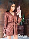 Кожаный женский ромпер с верхом на запах и длинным рукавом vN7170, фото 3