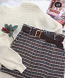 Твидовая женская юбка в клетку с поясом vN7183, фото 2