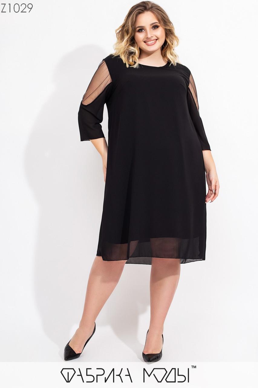 Платье трапеция в больших размерах с вставками сетки на рукавах vN7184