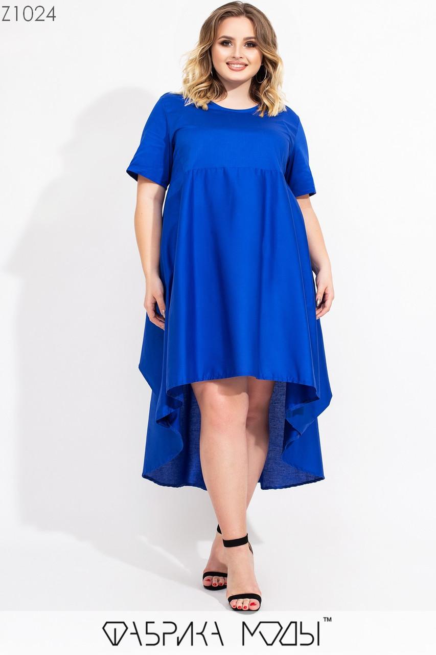 Асимметричное платье в больших размерах с завышенной талией и коротким рукавом vN7186