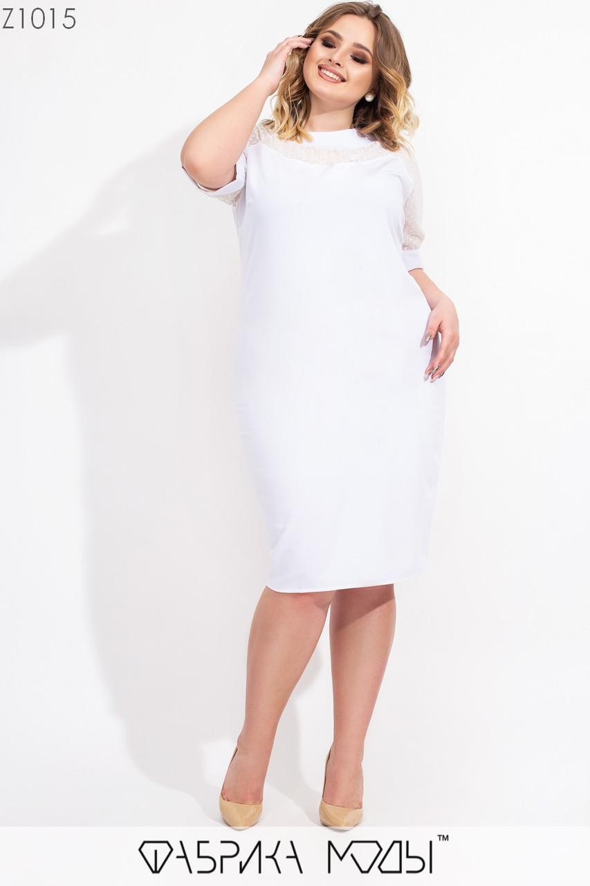 Приталенное платье в больших размерах с короткими шифоновыми рукавами vN7188