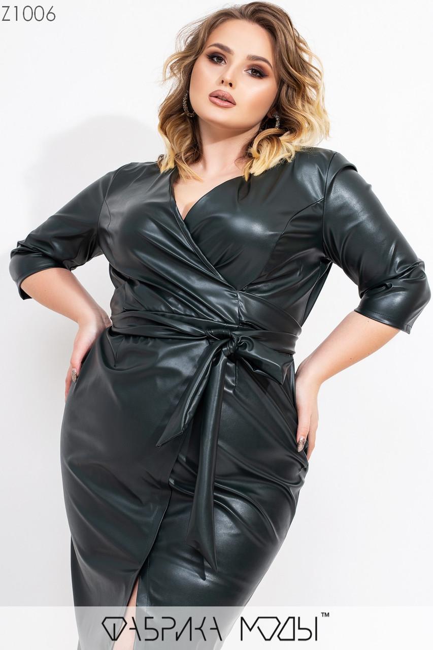 Платье кожаное в больших размерах с верхом на запах и поясом vN7191