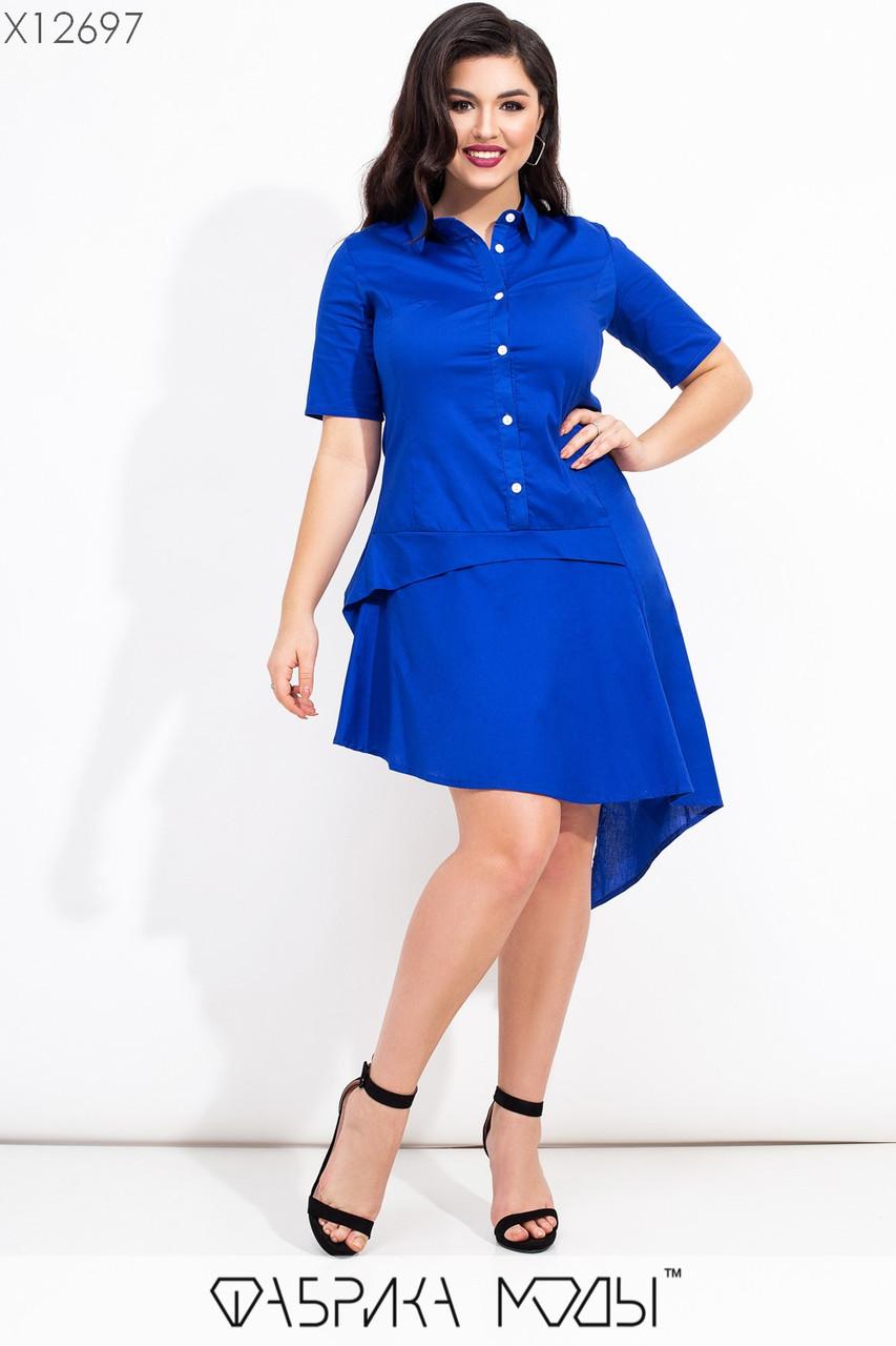 Коттоновое асимметричное платье в больших размерах с заниженной талией и рубашечным верхом vN7192