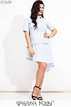 Коттоновое асимметричное платье в больших размерах с заниженной талией и рубашечным верхом vN7192, фото 2