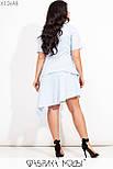 Коттоновое асимметричное платье в больших размерах с заниженной талией и рубашечным верхом vN7192, фото 3