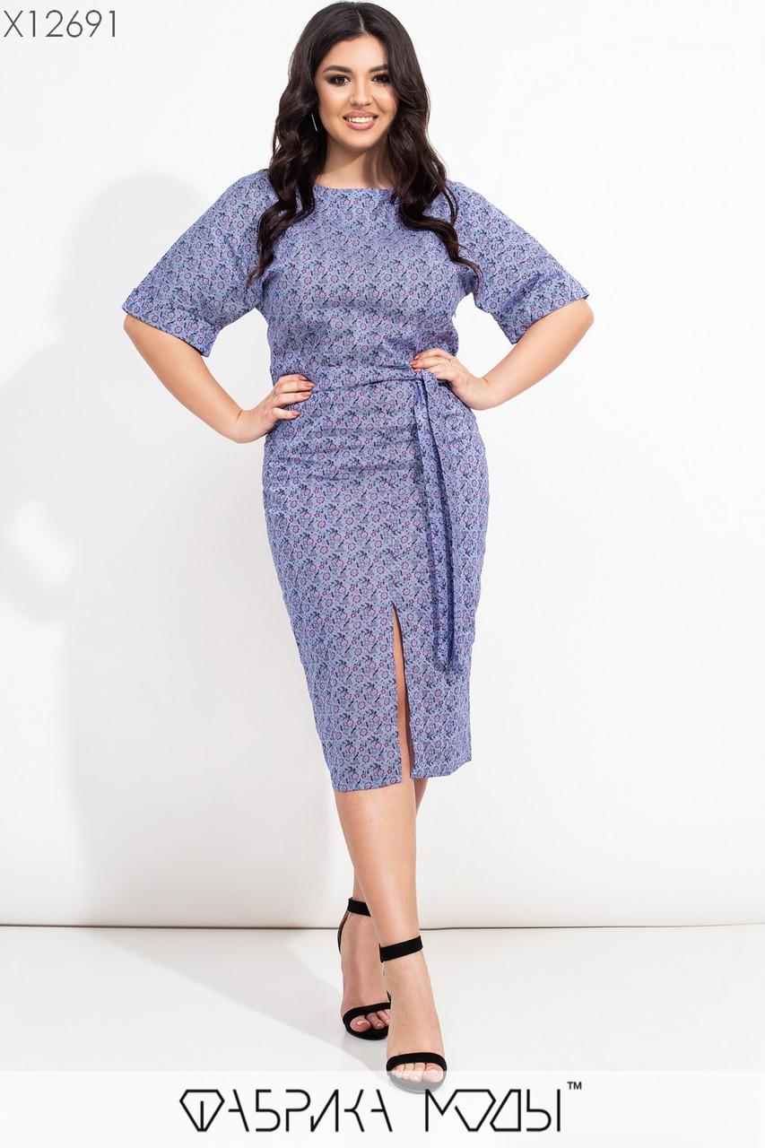 Платье футляр в больших размерах ниже колена из стрейчевого коттона vN7195
