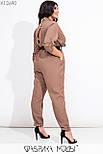 Женский комбинезон из габардина в больших размерах с поясом и рукавом 3/4 vN7196, фото 3