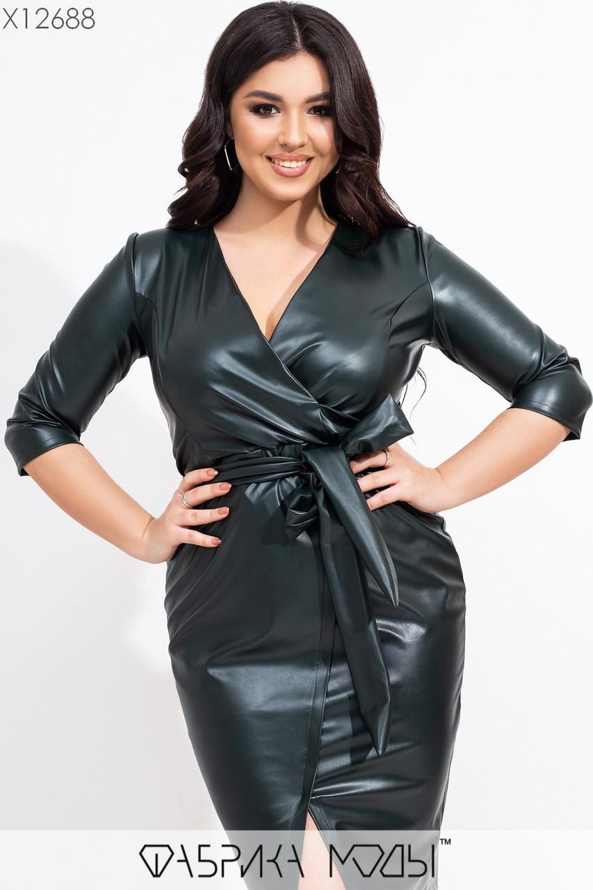 Кожаное платье в больших размерах на запах с рукавом 3/4 и поясом vN7197