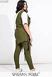 Женский комплект тройка в больших размерах с джинсами, белой базовой футболкой и накидкой vN7199, фото 7