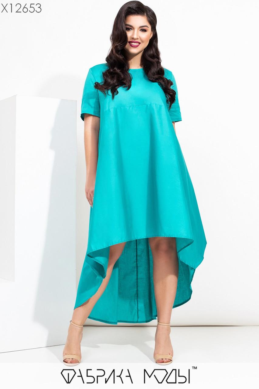 Свободное асимметричное платье в больших размерах с завышенной талией и коротким рукавом vN7205