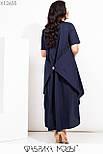Свободное асимметричное платье в больших размерах с завышенной талией и коротким рукавом vN7205, фото 4