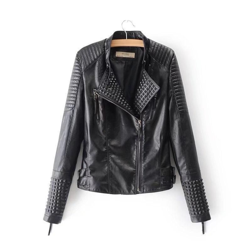Черная кожаная женская куртка косуха из мягкой экокожи vN7219