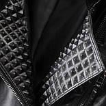 Черная кожаная женская куртка косуха из мягкой экокожи vN7219, фото 2