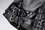 Черная кожаная женская куртка косуха из мягкой экокожи vN7219, фото 4