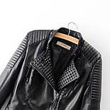 Черная кожаная женская куртка косуха из мягкой экокожи vN7219, фото 5