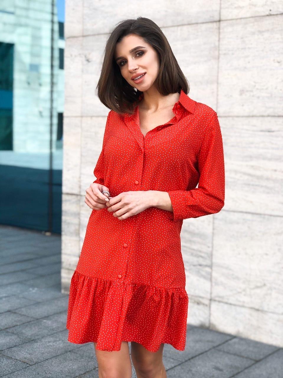 Легкое платье рубашка прямого кроя с оборкой по низу и рукавом 3/4 vN7221
