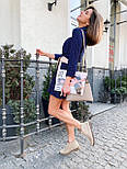 Легкое платье рубашка прямого кроя с оборкой по низу и рукавом 3/4 vN7221, фото 4