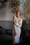 Облегающее фигуру платье из мелкой хлопковой вязки с вырезом декольте vN7222, фото 4