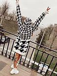 Вязаное платье свободное прямое с принтом гусиная лапка vN7226, фото 3