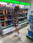 Вязаное платье свободное прямое с принтом гусиная лапка vN7226, фото 4