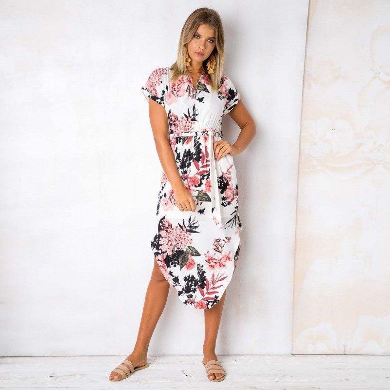 Летнее асимметричное платье в цветочный принт с коротким рукавом vN7230