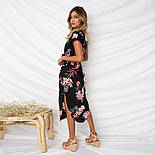 Летнее асимметричное платье в цветочный принт с коротким рукавом vN7230, фото 3
