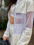 Женский спортивный костюм тройка с топом и вставками сетки vN7239, фото 2