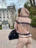 Женский спортивный костюм тройка с топом и вставками сетки vN7239, фото 5