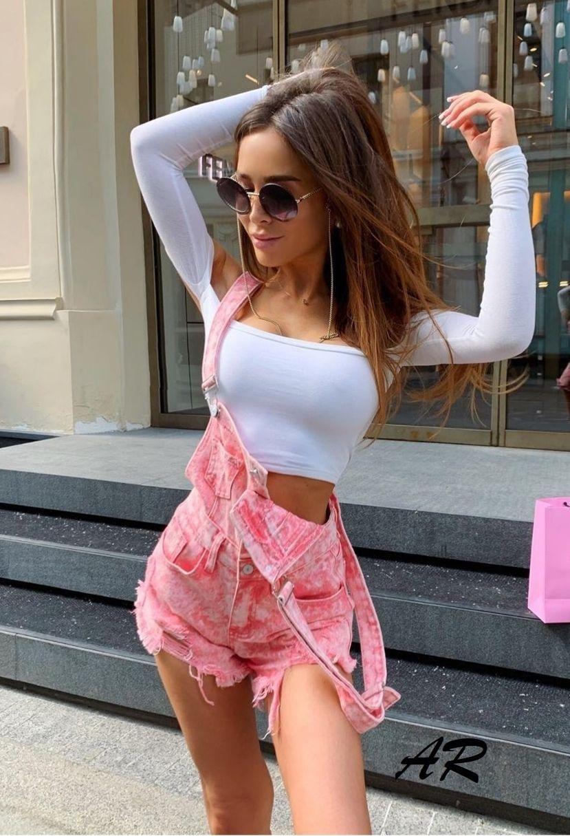 Женский летний джинсовый комбинезон с шортами на бретельках vN7248