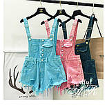 Женский летний джинсовый комбинезон с шортами на бретельках vN7248, фото 5