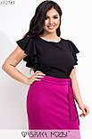 Женская юбка карандаш в больших размерах из структурного трикотажа с разрезом сзади vN7274, фото 2