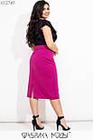 Женская юбка карандаш в больших размерах из структурного трикотажа с разрезом сзади vN7274, фото 3
