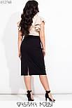 Женская юбка карандаш в больших размерах из структурного трикотажа с разрезом сзади vN7274, фото 4