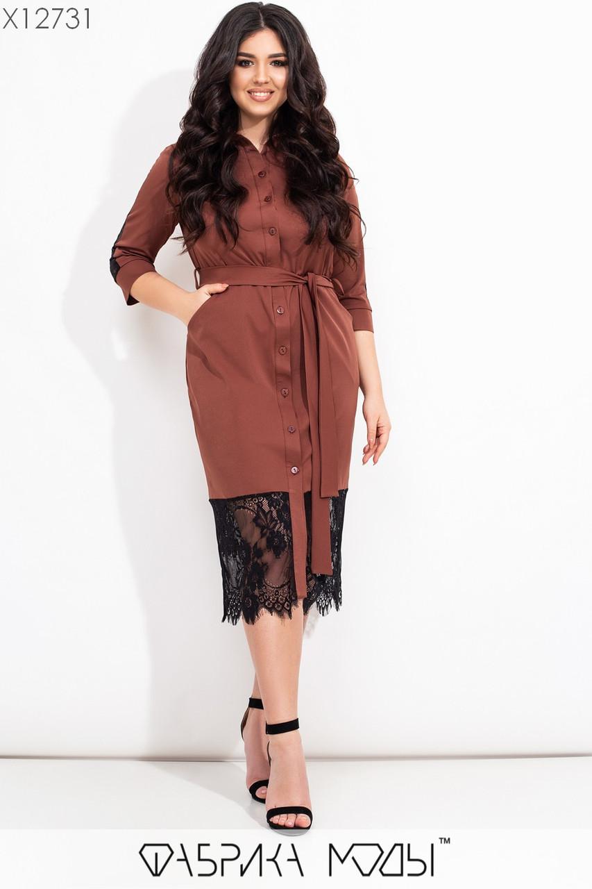 Шелковое платье рубашка в больших размерах с отделкой из черного кружева по низу vN7275