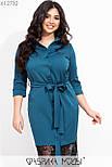 Шелковое платье рубашка в больших размерах с отделкой из черного кружева по низу vN7275, фото 2