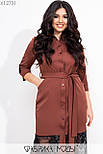Шелковое платье рубашка в больших размерах с отделкой из черного кружева по низу vN7275, фото 7