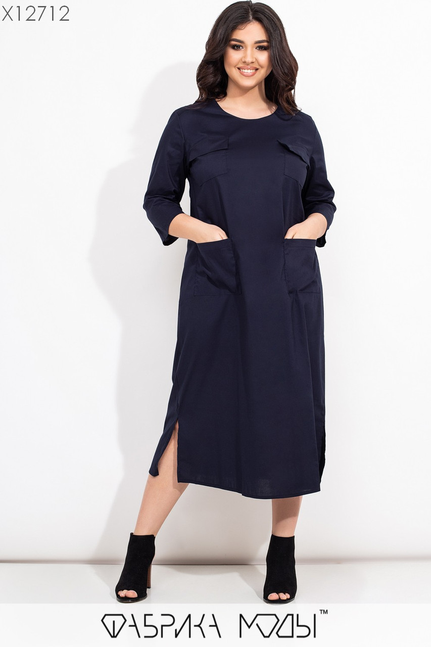Прямое платье миди в больших размерах из коттона с накладными карманами vN7278